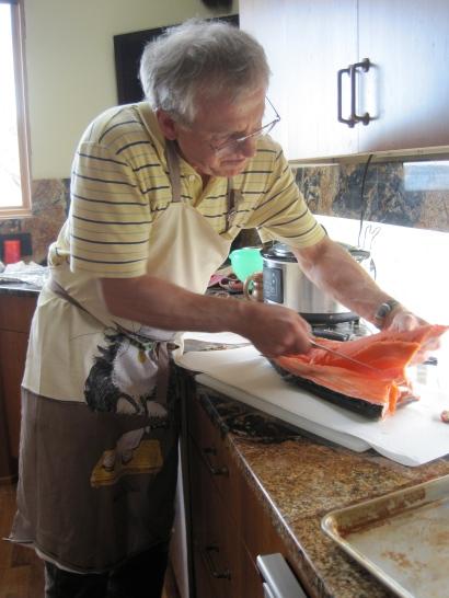 UV preparing salmon to barbecue for dinner!