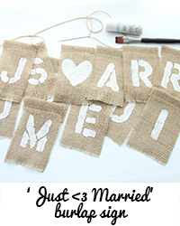 just married burlap sign